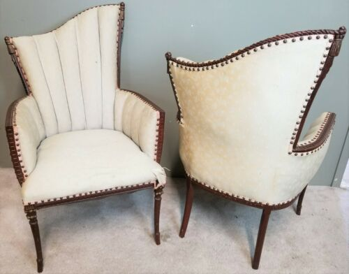 (2) Antique Carved Mahogany French Provincial Regency Fireside Accent Armchairs