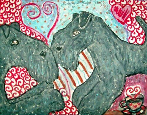 KERRY BLUE TERRIER 11 x 14 Dog Art Print by Artist Kimberly Helgeson Sams KSams