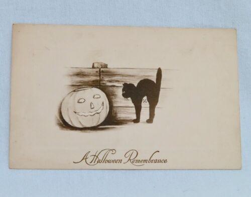 Vintage Halloween Postcard Black Cat & Pumpkin -  80647