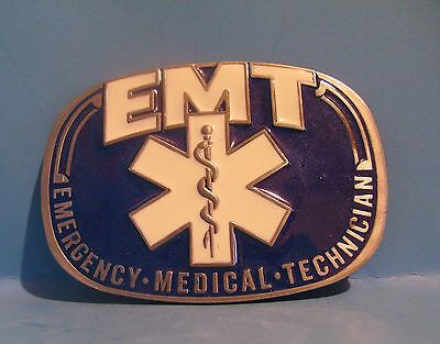 EMT belt buckle pewter Blue and white enamel Gift Free Shipping USA