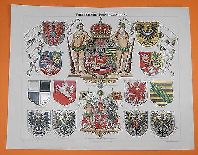 WAPPEN Preussen LITHOGRAPHIE um 1900 Ostpreussen Posen Sachsen Schlesien Pommern
