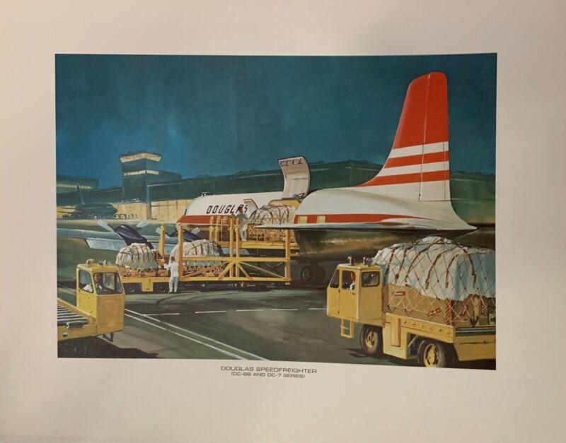 Douglas Painting Print Douglas Speed Freighter DC-88 DC-7 Vintage