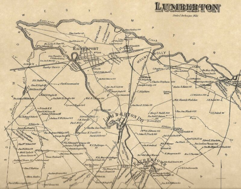 Lumberton Hainesport Eayrestown NJ 1876  Maps with Homeowners Names Shown
