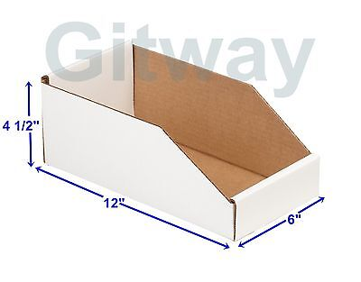 50- 6 X 12 X 4 12 Corrugated Cardboard Open Top Storage Parts Bin Bins Boxes