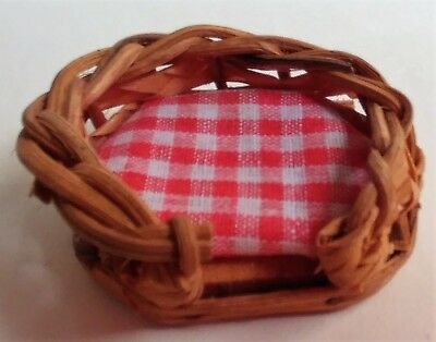 MINIATURE WICKER DOG BED BASKET W RED CHECK PAD