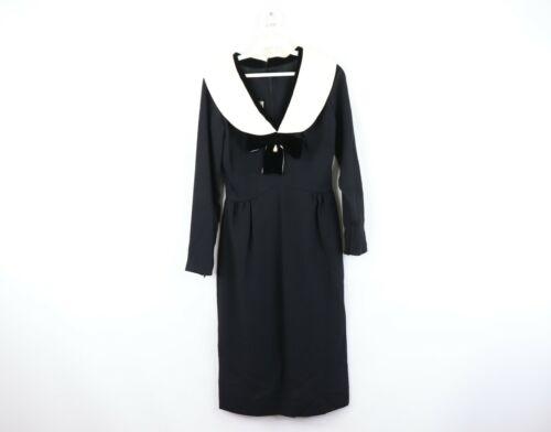 Vtg 60s Charles F Berg Womens Small Medium Velvet Trim Evening Dress Black Bow