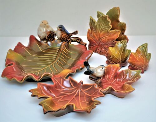 VINTAGE LEAF SHAPED CERAMIC DECORATIVE TABLE DISHES THANKSGIVING