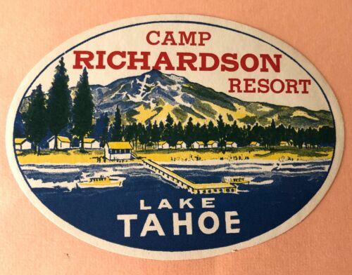 Rare Luggage Label Camp Richardson Resort, Lake Tahoe, California - USA