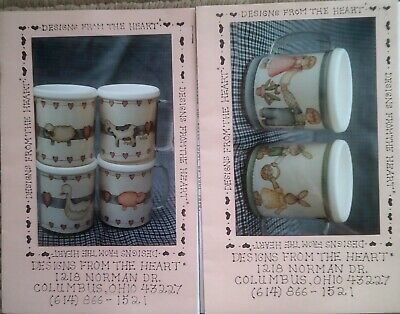 Tole Pattern Packets – Lot of 2 – Designs from the Heart – Folk Art Mugs