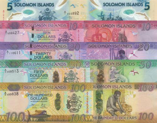 Solomon Islands Set 5 PCS: 5 to 100 Dollars (ND/2015-2019) pNew, p33-p36 UNC
