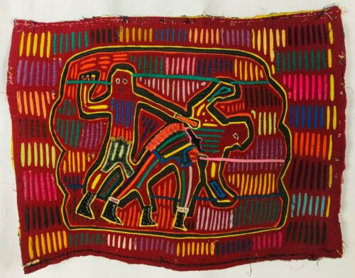 """Vintage Mola Hand Made and Hand Stitched Colorful Warrior Men Fighting 14"""" x 18"""""""