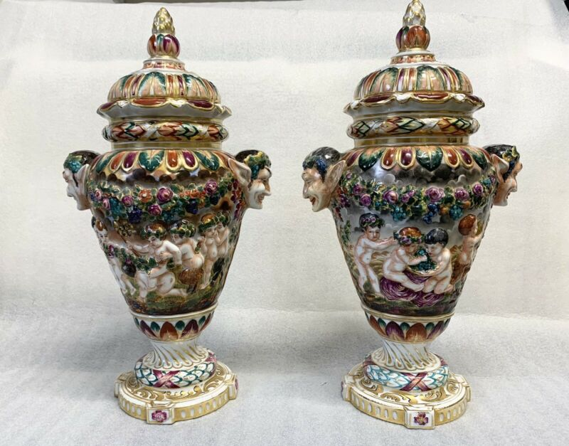 Pair of Gorgeous High Relief Hand Painted Capodimonte Urns