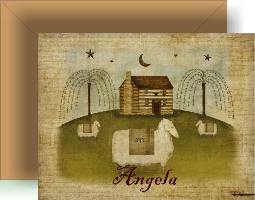 Primitive Log Cabin & Lamb Personalized Note Cards Set of 8 - Boxed
