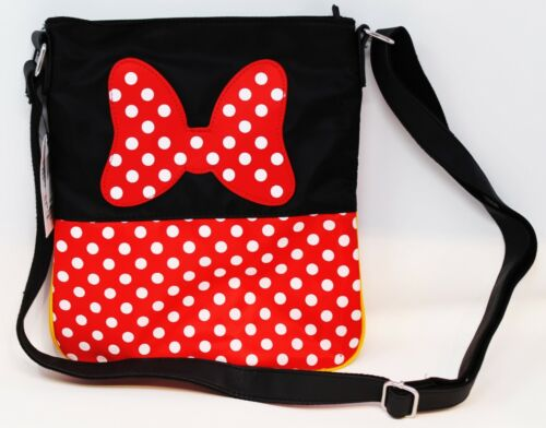 Disney Parks Mickey & Minnie Mouse Crossbody Purse Bag Tote Shoulder Red Black