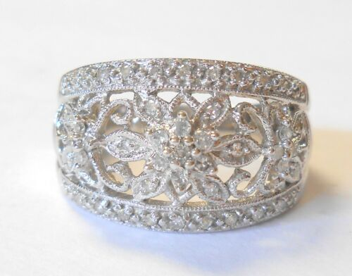 Diamonds Filigree Floral & Bees 14K White Gold Ladies Wide Band Ring Size 7.5