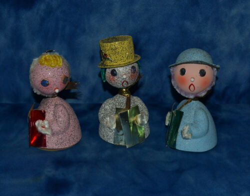 LOT OF 3 VINTAGE CHRISTMAS CAROLERS BOBBLE HEAD NODDER MADE IN WESTERN GERMANY