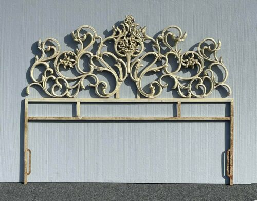 Vintage French Provincial Ornate Off White Cast Iron Full Headboard