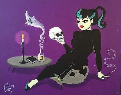 EL GATO GOMEZ PINUP GIRL RETRO SKULL PRINT VINTAGE HALLOWEEN MOD WITCH 1960'S - Halloween Mod