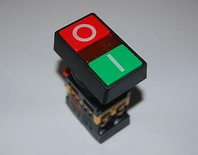 30MM Double head PUSH BUTTON SWITCH with 120V AC LED Light Momentary ON OFF