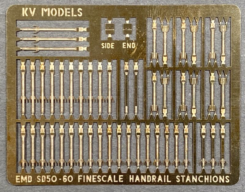 ETCHED HO SCALE SD60 HANDRAIL STANCHION SET BY KV MODELS KV-157H
