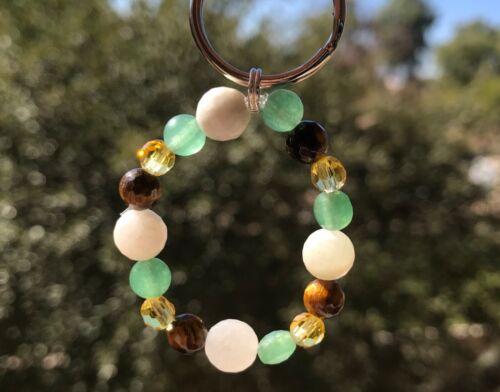 Beautiful Gemstone charm Key Chain Abundance Success lucky Good Fortune