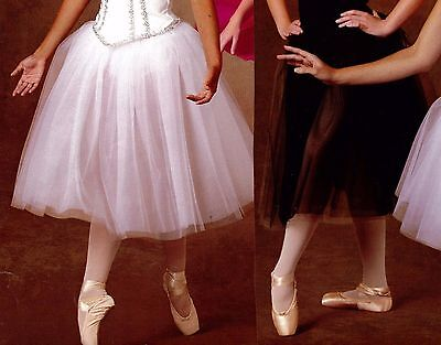Tutu Romantic Length Ballet 4 layer tulle chiffon w/attchd trunks 4 color choice - Color Tutus