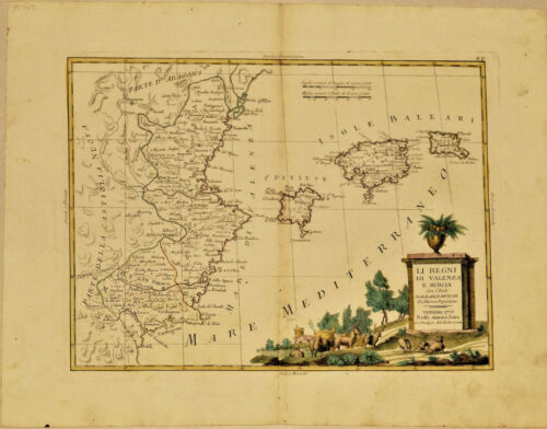 1775 Genuine Antique Hand Colored Map Spain. Valencia. Maiorca. Elegant. Zatta