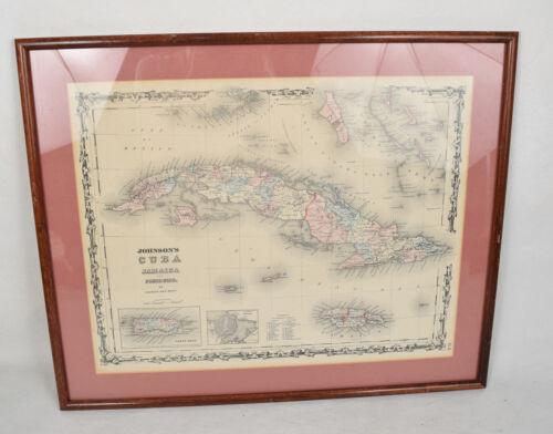Cuba Jamaica Map Porto Rico Johnsons 1862 Circa 1865 Original