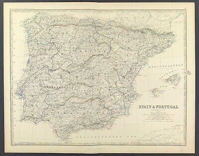 Large Antique Map of Spain & Portugal c1869 Keith Johnston Royal Atlas Original