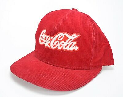 VINTAGE 80's COCA COLA CORDUROY RED SNAPBACK TRUCKER HAT MADE IN USA