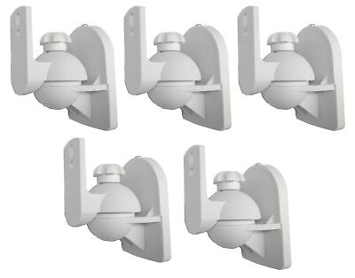- 5 Pack Lot - Universal Satellite Speaker White Wall Mount Brackets fits JVC Bose