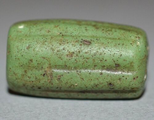Ancient Green Mandrel Wound Marvered Glass Bead Excavated In Mali, African Trade