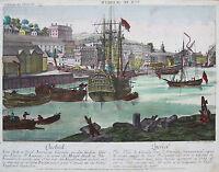 Orig. Altkol. Incisione Guckkastenblatt Quebec Canada America; 1780 -  - ebay.it