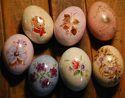 Charming Vintage Set of 7 EASTER EGGS Multi Color Hand Molded Decorated Ceramic