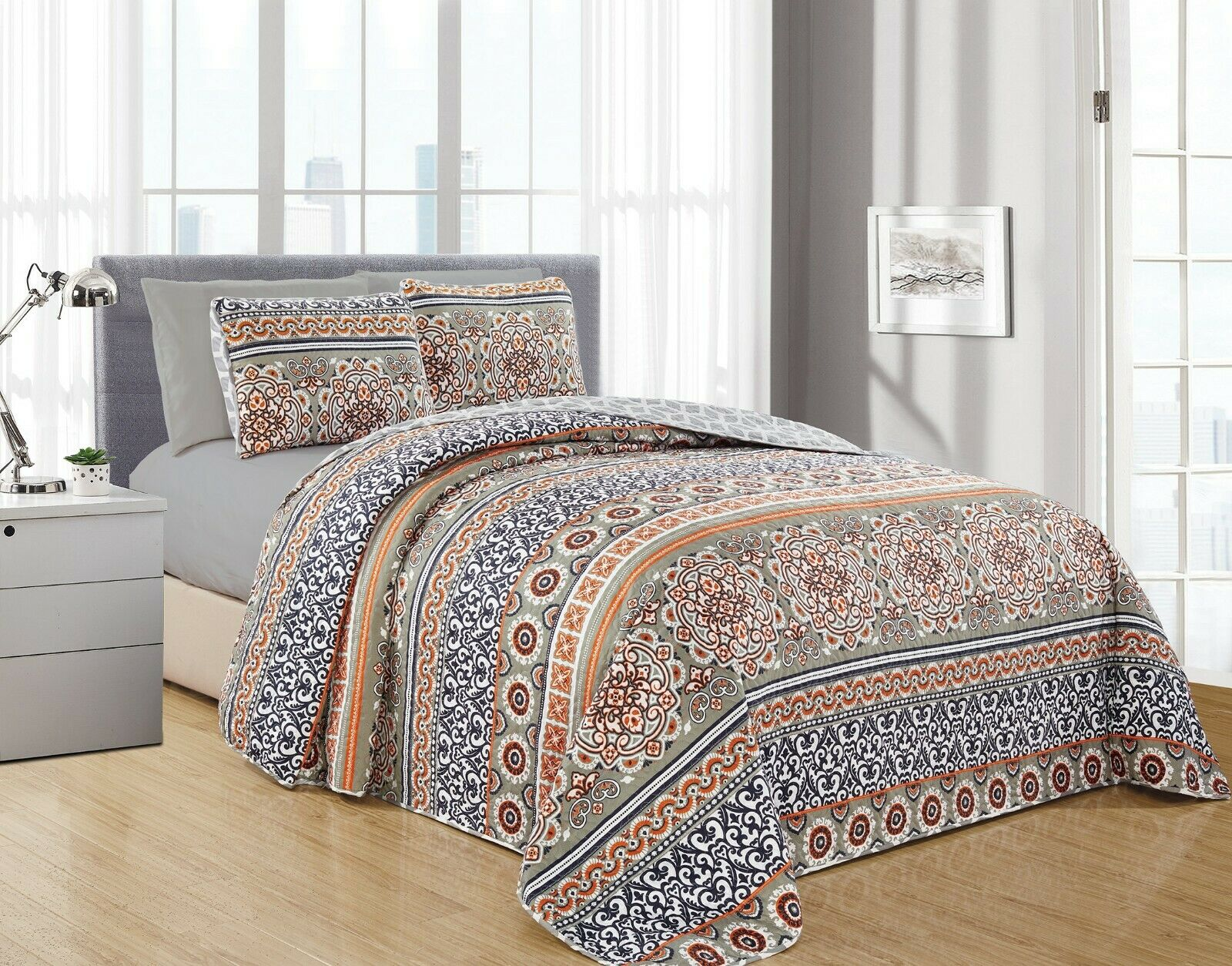 SARA 6PC Printed Reversible Bedspread, Oversize Coverlet