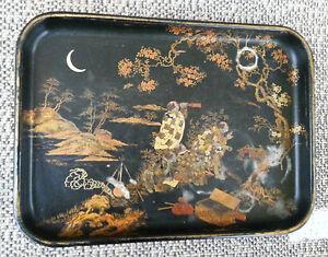 ancien plateau napoleon iii en carton bouilli d co japonisant art d co vintage ebay. Black Bedroom Furniture Sets. Home Design Ideas