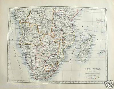 Antique 1895 Map of South Africa by W AK Johnston