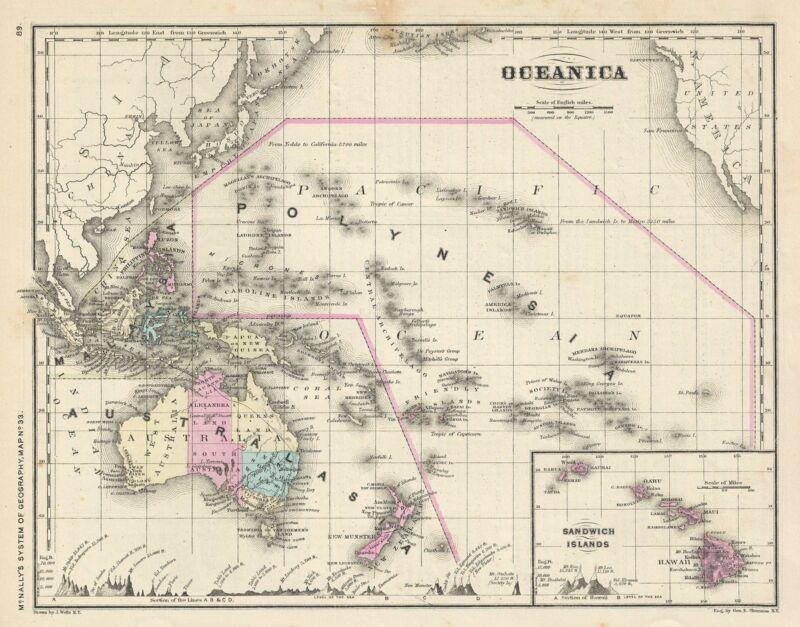 1866 Rand McNally Map of Australia and Polynesia