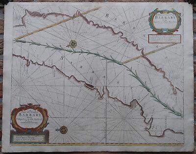 Antique Print-SEA CHART-AFRICA-WESTERN SAHARA-MOROCCO-AGADIR-Thronton-1707