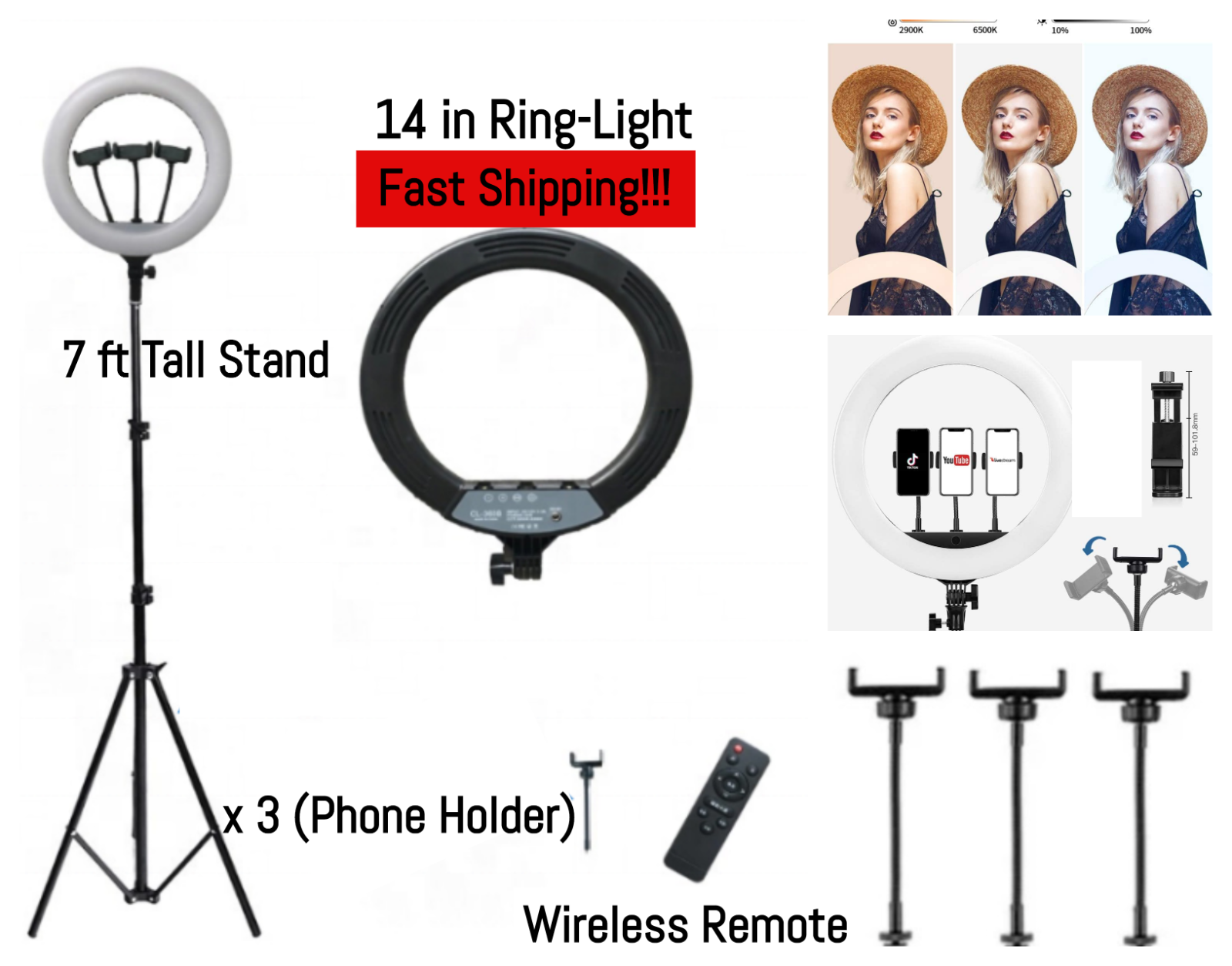 14″ LED Ring Light with Stand Kit For Dimmable Makeup Social Media Beauty Shoot Cameras & Photo