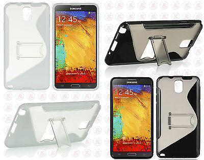 For Samsung Galaxy Note 3 TPU S-Line Flexi Skin Case Cover Kick Stand S-Shape