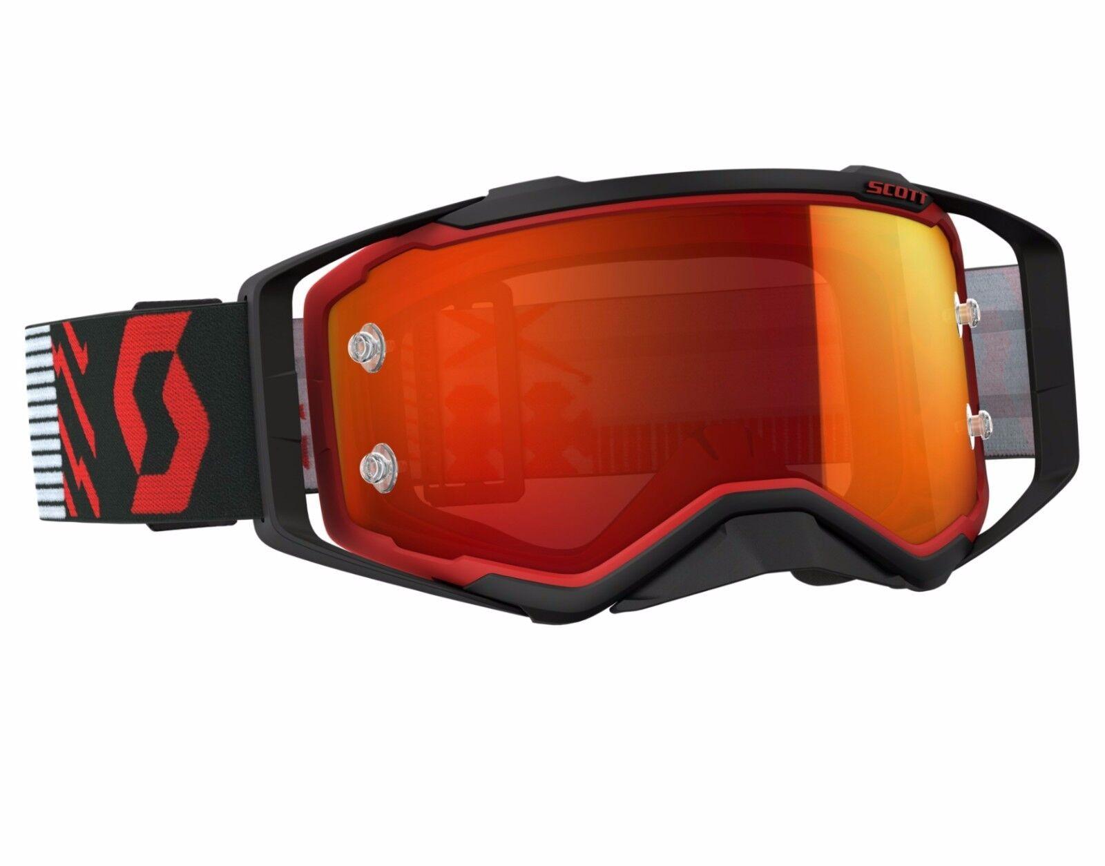 2018 SCOTT PROSPECT MOTOCROSS MX GOGGLES red / black / orange chrome works lens
