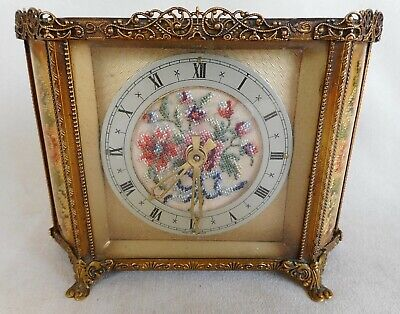 VINTAGE PETIT POINT / EMBROIDERY / TAPESTRY AND ORMOLU FILIGREE CLOCK