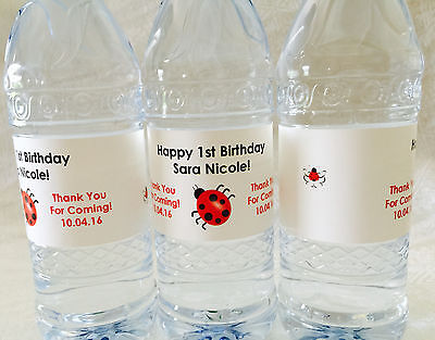 20 PERSONALIZED LADYBUG Birthday Waterproof WATER BOTTLE LABELS for Party Favors (Personalized Labels For Water Bottles)