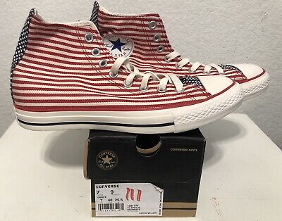 CONVERSE All Star HI Red Mn SZ: 9.5 US White Stars Stripe American Flag NEW July (Red Star Shoes)