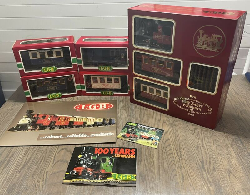NEW! RARE 1981 LGB G-GAUGE 100 YEAR ANNIVERSARY SET POSTER EXTRA CARS 1985-2