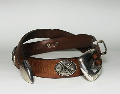 SENTRY Mens Belt Brown Leather Golf Style Silvertone Metal Buckle-Size 32