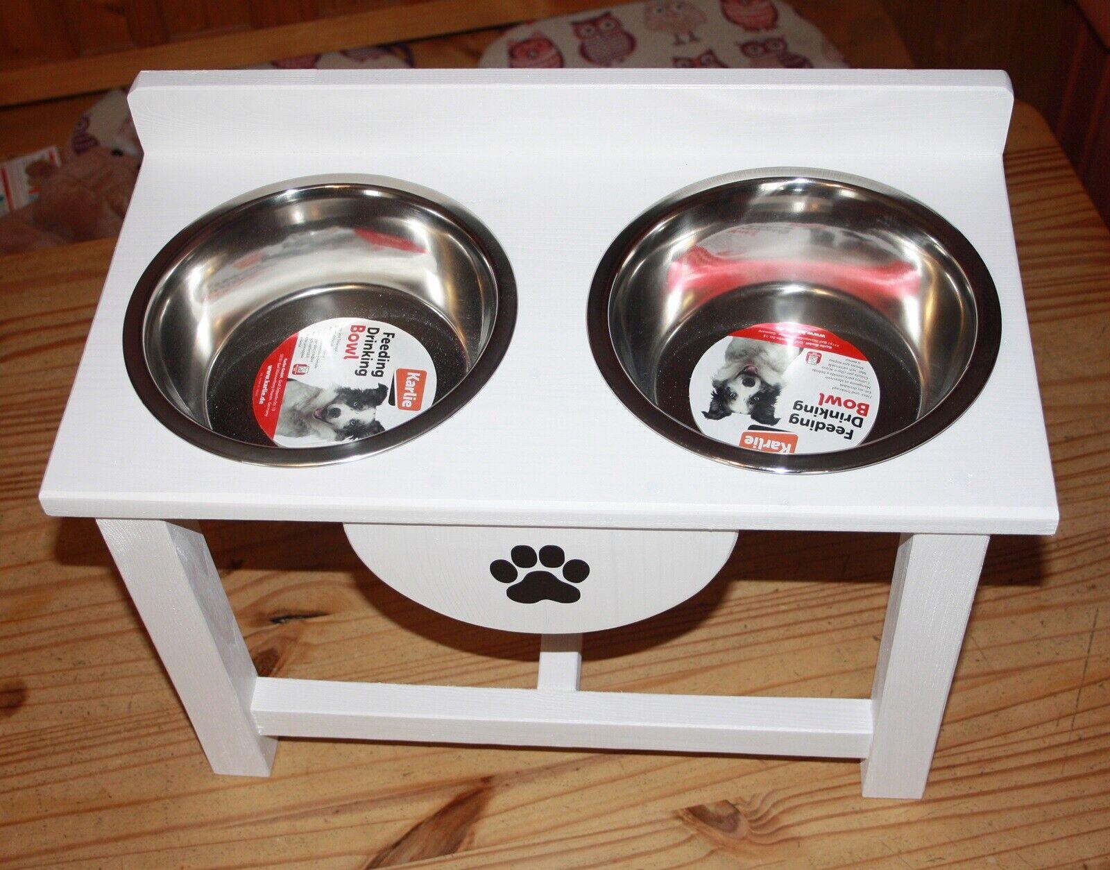 Futtertheke,Hundebar Napfständer Holz für Große Hunderassen Weiß 2 x  2600 ml