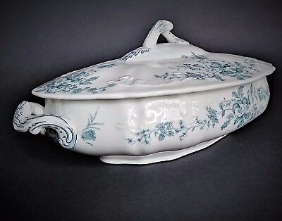 Trilby pattern casserole tureen lidded serving dish Victorian blue & white RARE