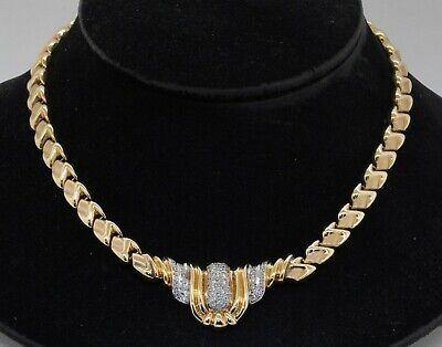 Vintage heavy 14K 2-tone gold 1.86CTW VS diamond cluster formal pendant necklace
